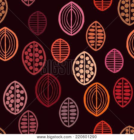 Seamless floral pattern with primitive leaves. Seamless floral pattern with primitive leaves. Tribal ethnic background, spicy red tones. Textile design.