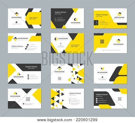 Business cards design templates set abstract modern corporate branding style vector Illustration. Two sides with logo trendy colors background.