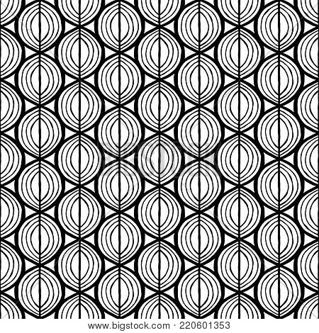 Primitive seamless floral pattern with leaves. Ethnic tribal  background, simplistic geometry, black and white. Textile design.