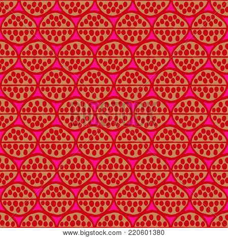Seamless  primitive floral pattern with abstract leaves. Tribal ethnic background, simplistic geometry, pink ocher red. Textile design.