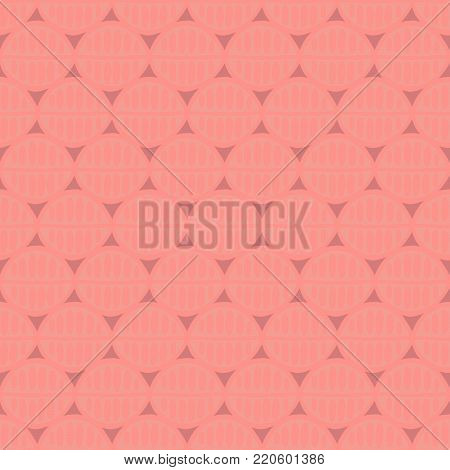 Seamless floral pattern with primitive leaves. Tribal ethnic background, simplistic geometry, coral tones. Textile design.