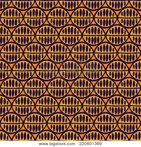 Seamless floral pattern with primitive leaves. Tribal ethnic background, simplistic geometry, purple and orange. Textile design.