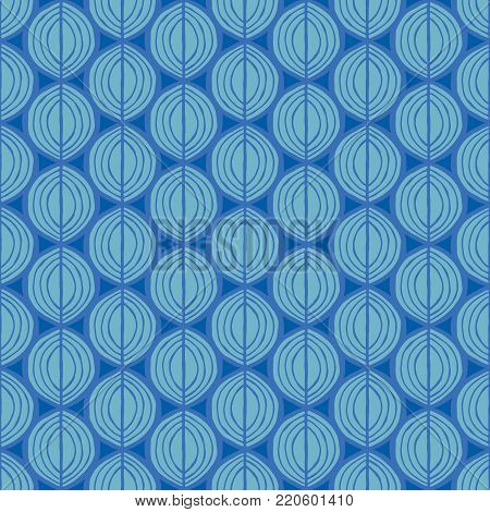 Primitive leaves, seamless floral pattern. Tribal ethnic background, simplistic geometry, marine blue tones. Textile design.