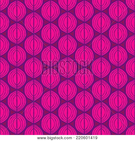 Primitive leaves, seamless floral pattern. Tribal ethnic background, simplistic geometry, purple and magenta. Textile design.