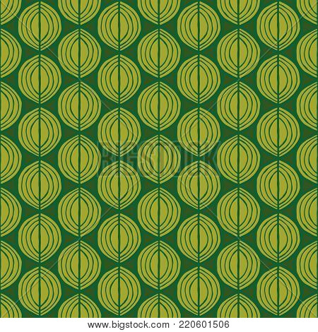 Primitive leaves, seamless floral pattern. Tribal ethnic background, simplistic geometry, yellow and green. Textile design.