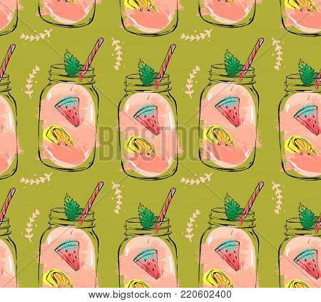 Hand drawn vector abstract summer time organic fresh fruits seamless pattern with cocktail in glass bottle jar, watermelon, lemon slice and mint leaves in rose pink colors isolated on green background.