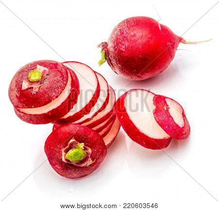 Sliced red radish composition, one whole, isolated on white background
