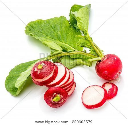 One bulb of red radish with leaves, slices, cut in circles, isolated on white background