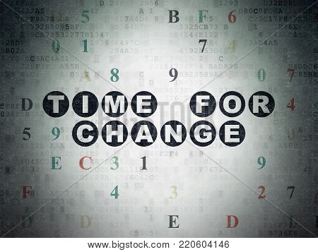 Time concept: Painted black text Time for Change on Digital Data Paper background with Hexadecimal Code