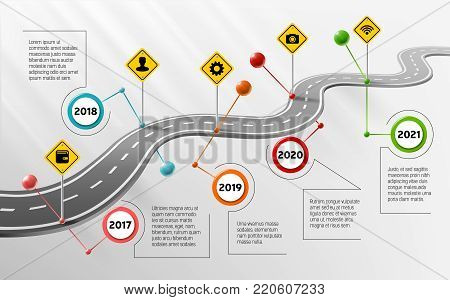 Vector company corporate milestone, history timeline, business presentation layout, infographic strategic plan workflow, grey background. Car curved road with years, marks, info icon, concept template