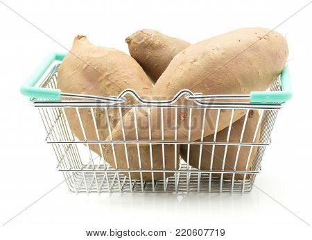 Sweet potato in a shopping basket isolated on white background three raw