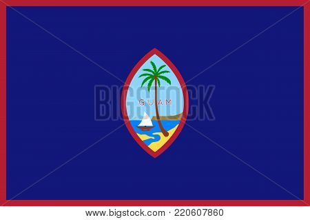 Flag Guam flat style. The icon of national symbol. State sign in flat style on the entire page as vector illustration