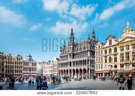 BRUSSELS, BELGIUM - August 27, 2017: Grand Place of Brussels Belgium.