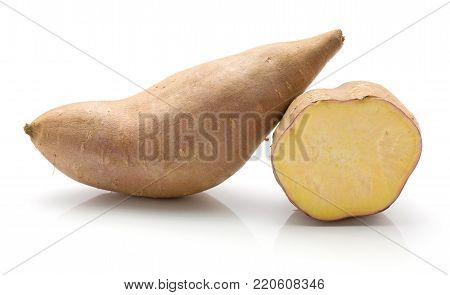 Sweet potato isolated on white background one whole and one half