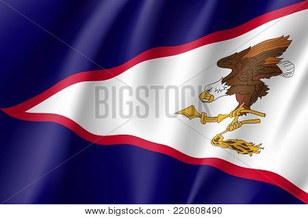 Flag American Samoa realistic flag. Patriotic symbol in official country colors. Illustration of Oceania state flag. Vector icon