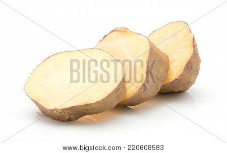 Three sweet potato slices isolated on white background