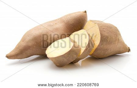 One sweet potato one half two slices isolated on white background