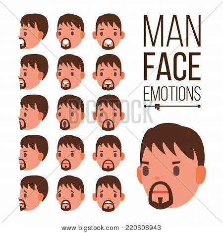 Man Emotions Vector. Handsome Face Man. Different Male Face Avatar Expressions Set. Cute, Joy, Laughter, Sorrow. Human Psychological Portraits. Isolated Flat Cartoon Illustration