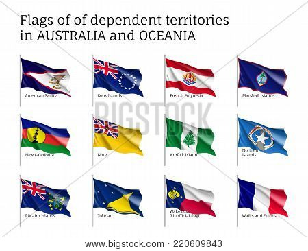Flags dependent territories Australia and Oceania realistic style set. Collection of national symbols. Vector illustrations of tribes, aborigines, peoples, pacific ocean concept