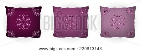 Set of throw pillow isolated for home interior design. Colorful lilac pillows decorated with floral pattern, classic vintage style. Vector illustration