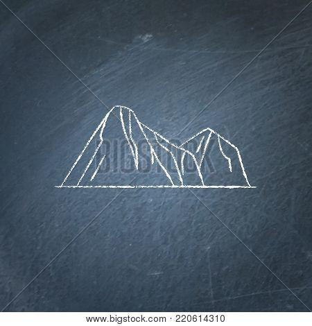 Mountain peaks icon on chalkboard. Outline rocks symbol - chalk drawing on blackboard.