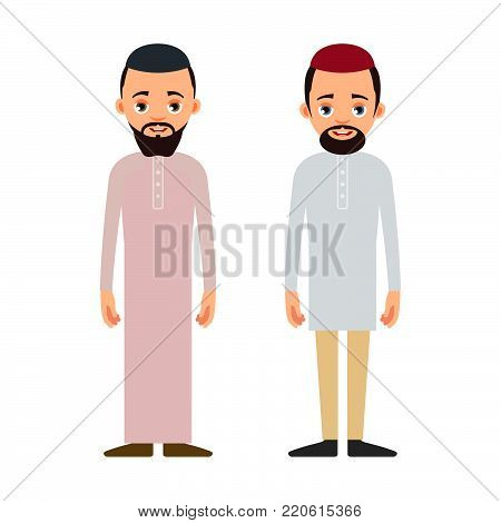 Muslim Man Or Arab Man. Cartoon Character Stand In The Traditional Clothing. Isolated Characters Of