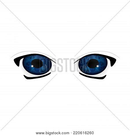 Anime Eyes. Human eyes closeup. Beautiful big cartoon eyes. Vector illustration