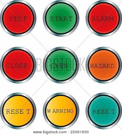 Round Indicator/Pushbutton Set