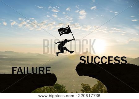poster of Men jump over silhouette hand hold flag best failure Committed to success.