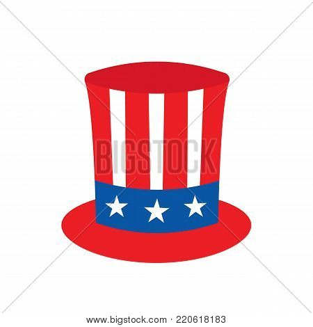 Uncle Sam's hat on white background. Vector stock.