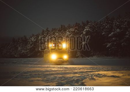 vintage ussr yellow van winter snow forest lights night restauration