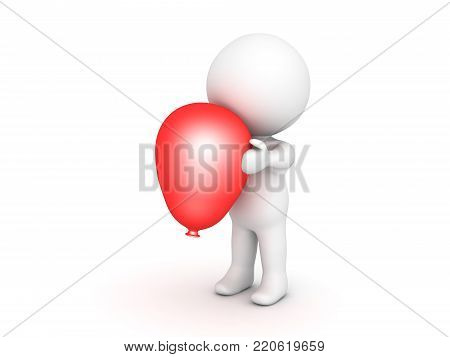 3D Character Holding Shiny Red Balloon