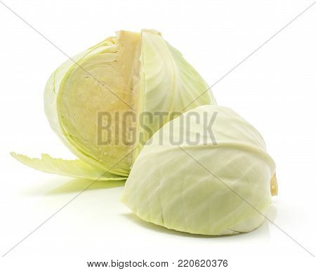 White cabbage isolated on white background one cut open head with separated quarter