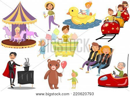 Happy people having fun in amusement park set, carousel, ferris wheel, roller coaster, car, magician cartoon vector Illustrations on a white background