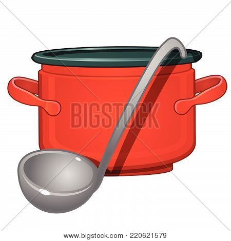 Red casserole and a ladle.  Vector cartoon close-up illustration.