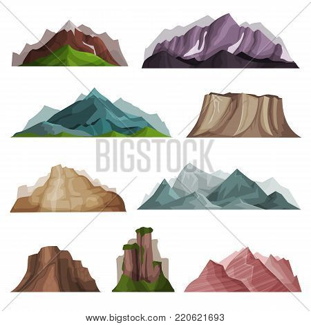 Nature mountain silhouettes set, variety of mountain massif vector Illustrations on a white background