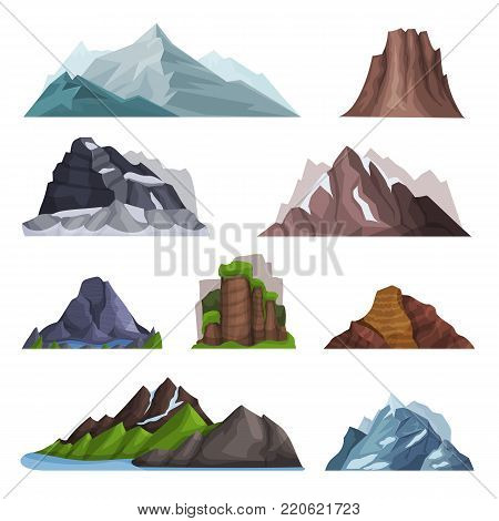 Nature mountains set, variety of mountain massif vector Illustrations on a white background