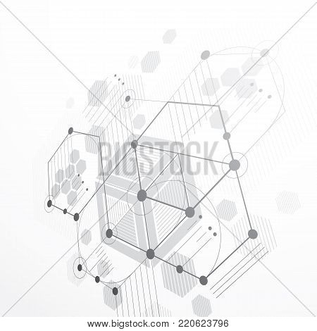 3d vector Bauhaus abstract gray background made with grid and overlapping simple geometric elements, hexagons and lines. Retro style artwork, graphic template for advertising poster. poster