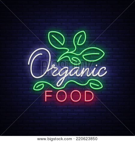 Vegan logo in neon style. Neon symbol, bright luminous sign, neon night advertising on the theme of Vegetarian food, healthy organical food, vegetables, fruits, vegetarian cafes. Vector illustration.
