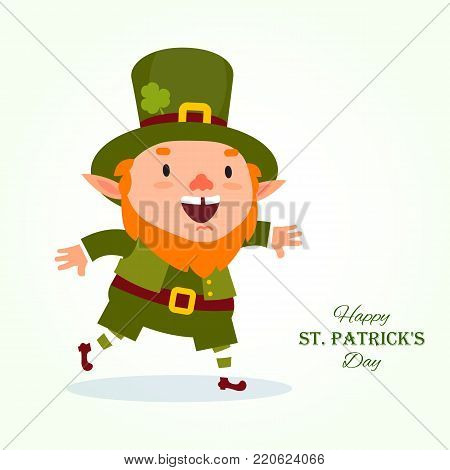 St.Patrick 's Day. Leprechaun, the traditional national character of Irish folklore, hurries to a holiday or a sale. Element from the set of leprechauns 03. Festive collection. Isolated on white