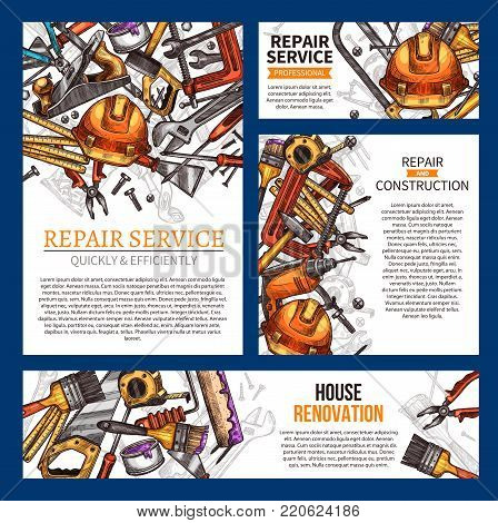 Home repair and house renovation banner template set with construction work tool. Hand and power instrument sketch poster of hammer, screwdriver, spanner, drill, wrench, paint, brush, roller, screw