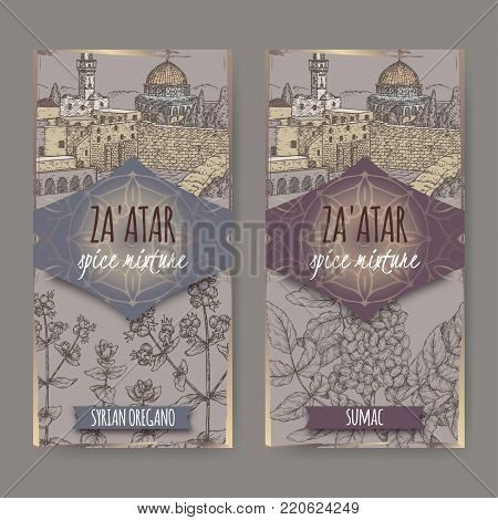 Two Zaatar labels with Jerusalem landscape, Syrian oregano and Sumac sketch. Culinary herbs collection. Great for cooking, medical, gardening design.