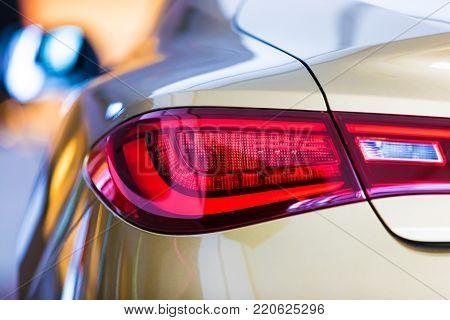 Macro view of modern car red rear light