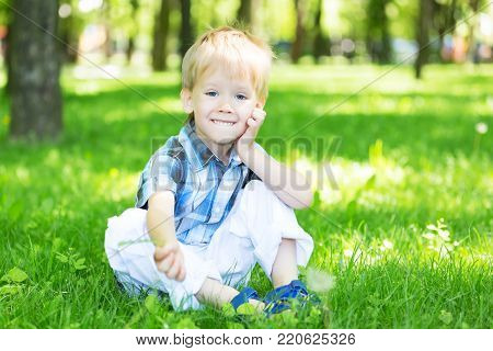 Portrait of a little boy sitting on the fresh grass loan in the city park in summer