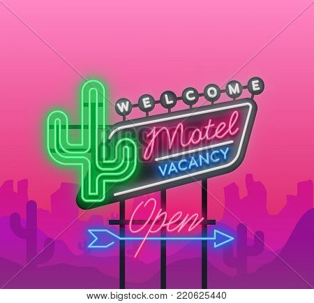 Motel is a light billboard. Neon signboard with Motel advertisement, retro signboard, bright luminous banner, neon sign, neon billboard for your projects. Vector illustration.