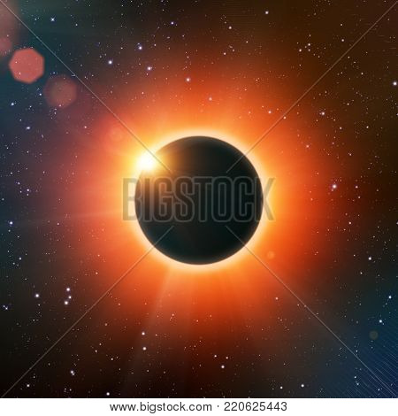3D render illustration of the total solar eclipse with Sun and Moon in space
