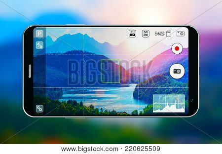 3D render illustration of modern black glossy touchscreen smartphone or mobile phone with photo camera app screen against blurred background of scenic nature landscape