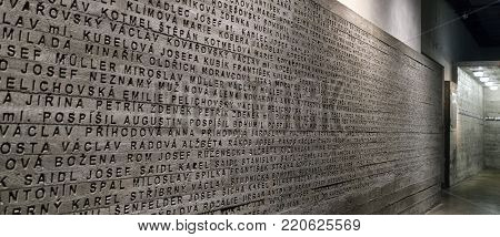 LIDICE, CZECH REPUBLIC - JULY 4: Wall of names at museum of the Nazi Destruction of Lidice on July 4, 2017 in Lidice