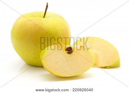 Apple (Smeralda variety) two slices and one whole isolated on white background