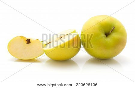 Sliced apple (Smeralda variety) collection isolated on white background one whole one half and one slice